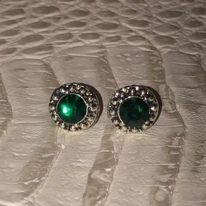 Small Green Round Stud Earrings